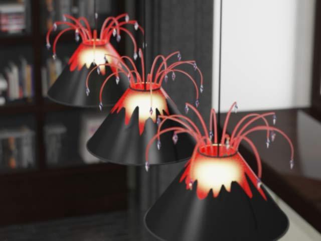 светильники в абажурах вулкин, вид сверху